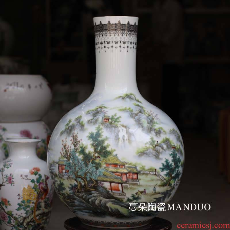 Jingdezhen ceramic famille rose tree and furnishing articles bookcase living room TV cabinet lotus decorative porcelain vase