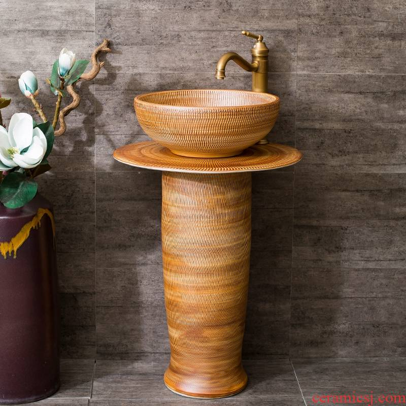Jingdezhen ceramic column basin to one stage art basin water basin toilet lavabo, balcony suit