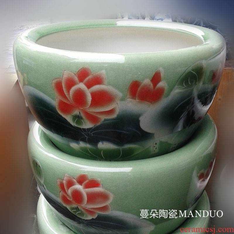 Jingdezhen green lotus piece of porcelain VAT, 500, 800 pieces of fish VAT yellow porcelain lotus painting and calligraphy cylinder