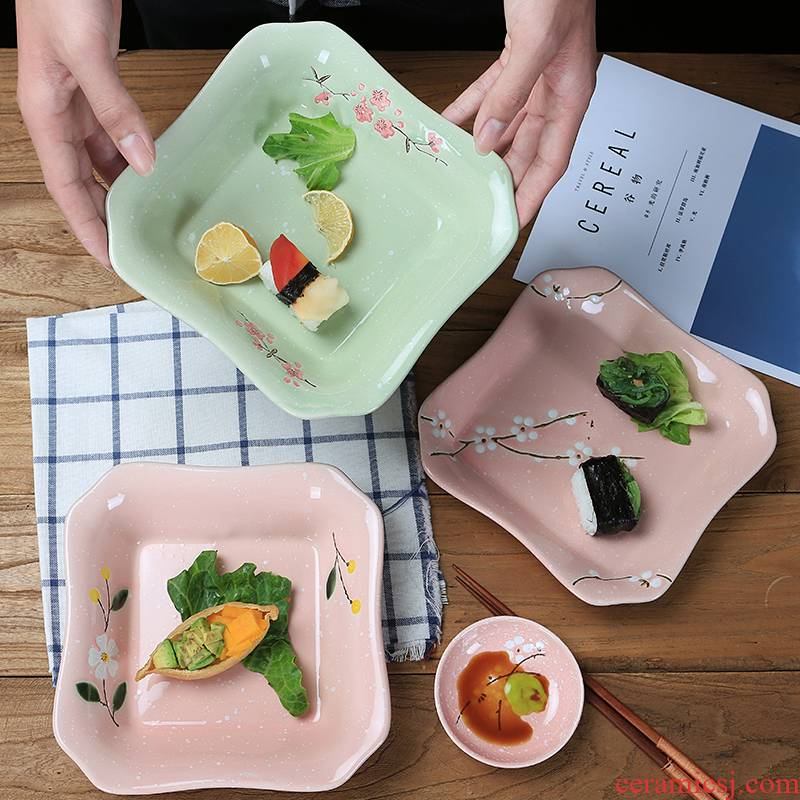 Jingdezhen ceramic square deep dish Japanese household food ideas under the glaze color LIDS, steak dishes plate