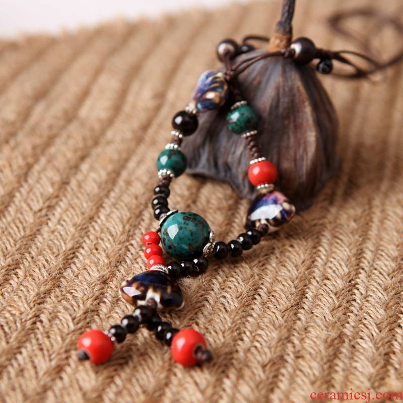 QingGe jingdezhen ceramic necklace sweater chain long qiu dong female ethnic wind restoring ancient ways is a simple fashion street source