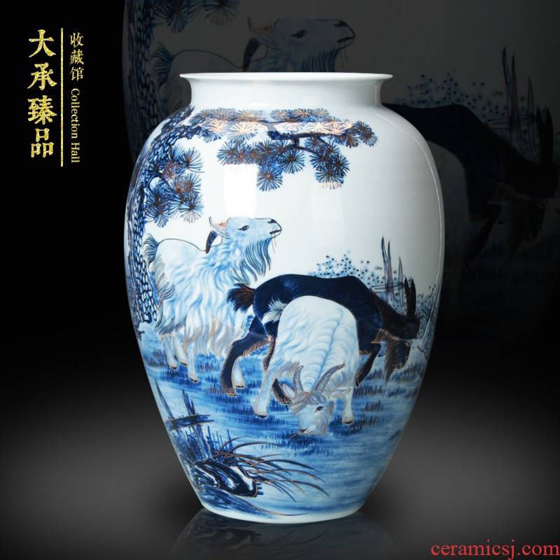 The see colour blue and white porcelain vase famous jingdezhen ceramics three Yang kaitai vase collection gifts crafts