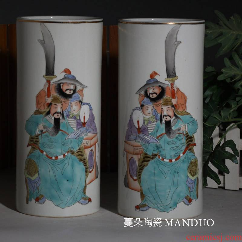 Jingdezhen hand - made guan yu, loyalty and century square vase tube straight imitation porcelain vase