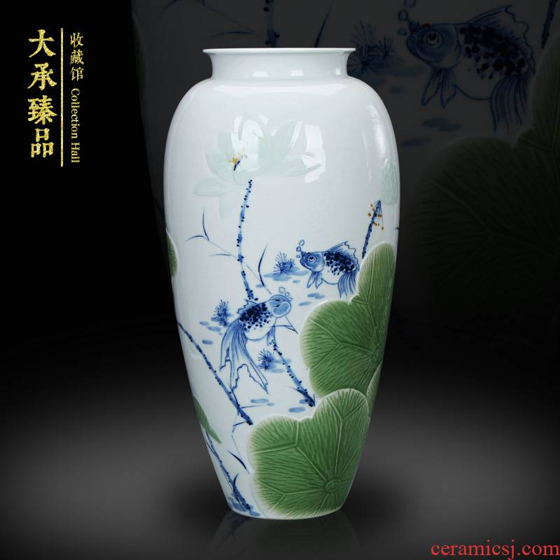 LuYiGang hand - made porcelain of jingdezhen ceramics engraving lotus goldfish vase collection crafts are set