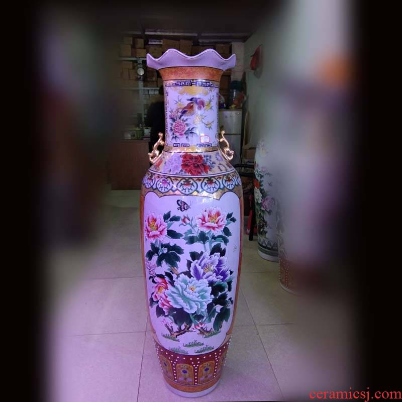 Jingdezhen color double phoenix ear red peony decorative vase is 1.3 meters high display of large vase
