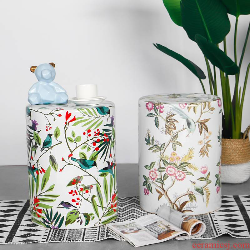 Modern northern wind cylinder of flowers and birds painting ceramic stools household creative edge what sitting room adornment landing place