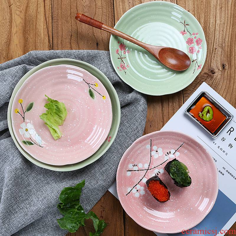 Jingdezhen ceramic plate round home deep LIDS, Japanese beef dish food dishes creative dumplings plate tableware