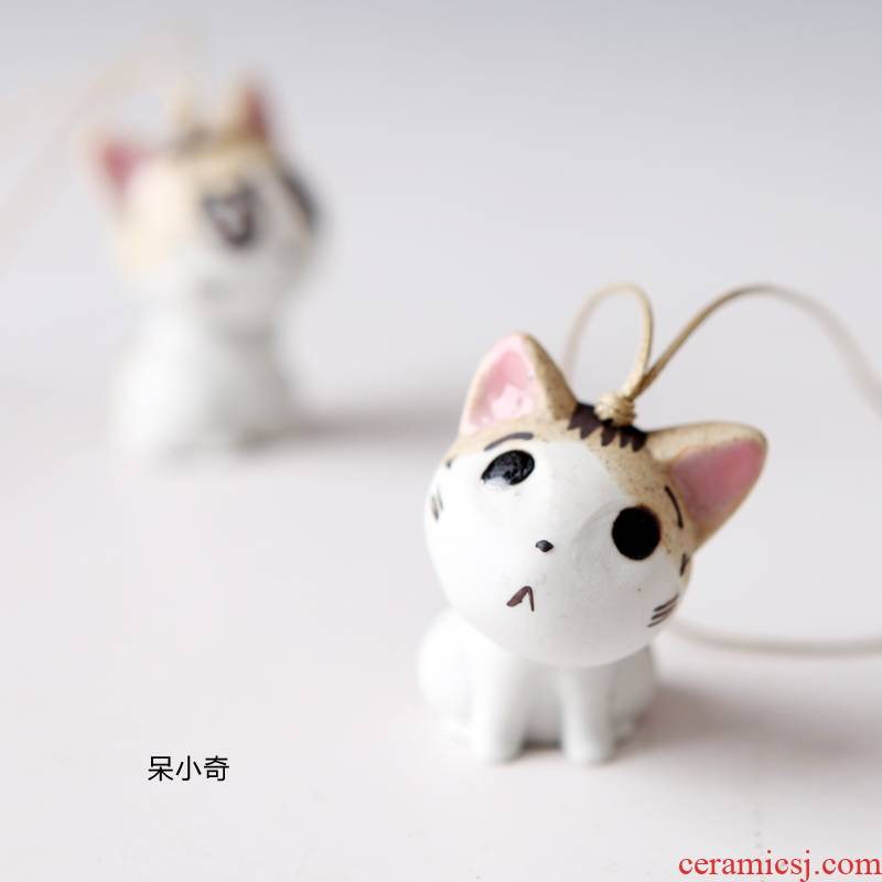 QingGe porcelain decoration craft ceramic lovely kitten packet hung ceramic package accessories pendant jewelry market. I sources