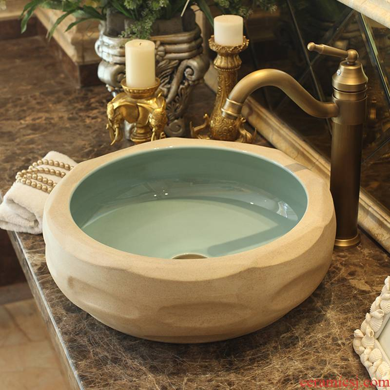 Jingdezhen ceramics by hand on the basin of art basin bathroom sinks upset the pool that wash a face carved the basin that wash a face