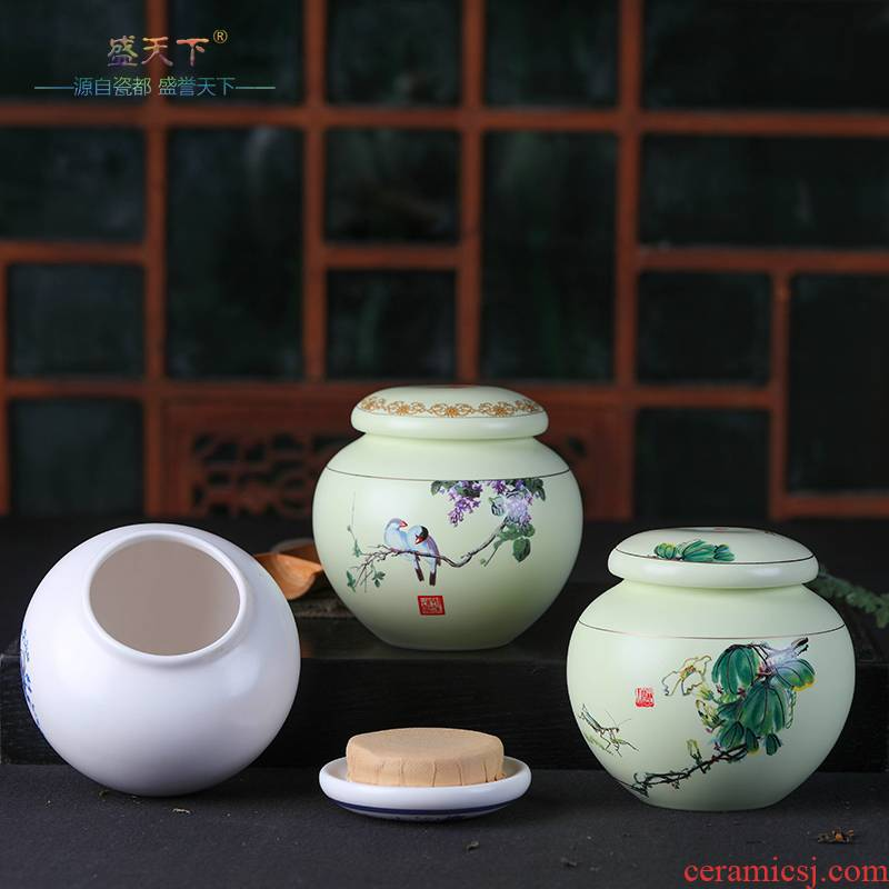 Jingdezhen ceramic tea pot large tank tea seal pot 1 kg box installed green tea POTS storage tank