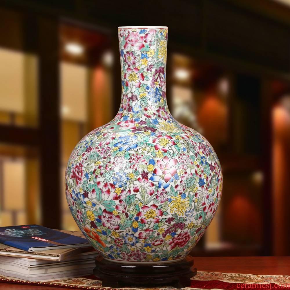 Jingdezhen ceramics high - end antique pastel fine all hand - made art porcelain industry white flower vase on the celestial sphere