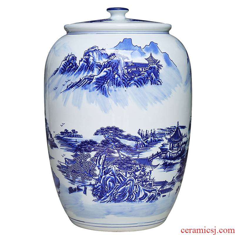 Jingdezhen ceramics large blue and white seal pot candy jar household act the role ofing is tasted furnishing articles storage tank barrel sitting room