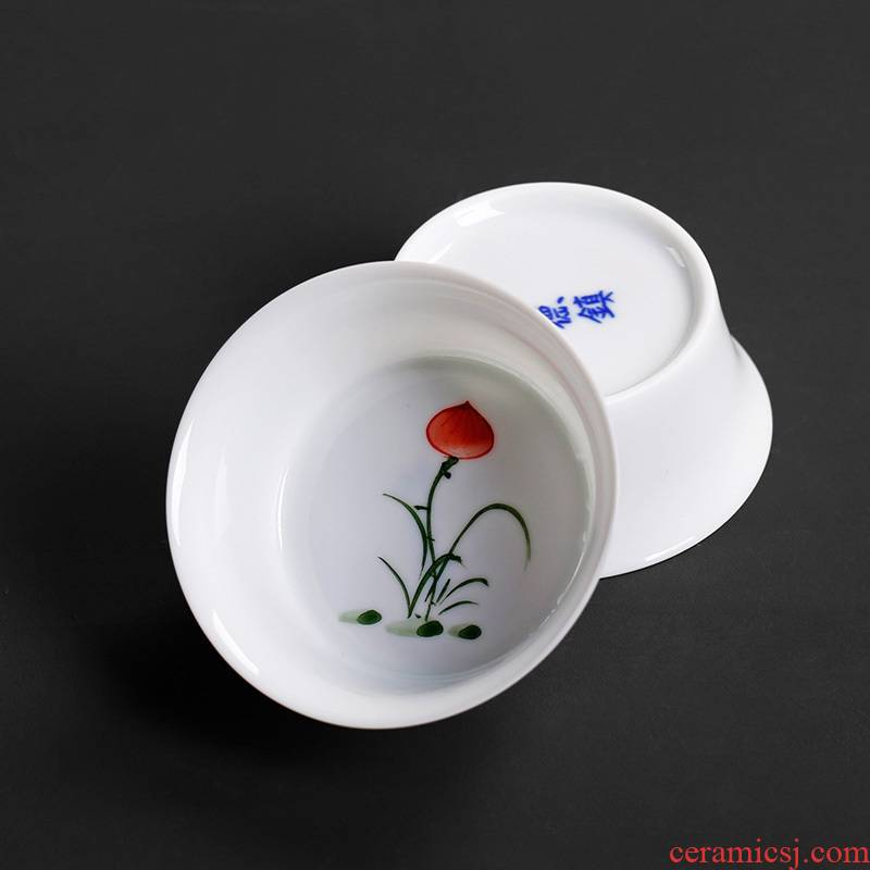 Hand - made hat sample tea cup ceramic cups white porcelain single cup small kung fu tea tea masters cup, celadon item of household