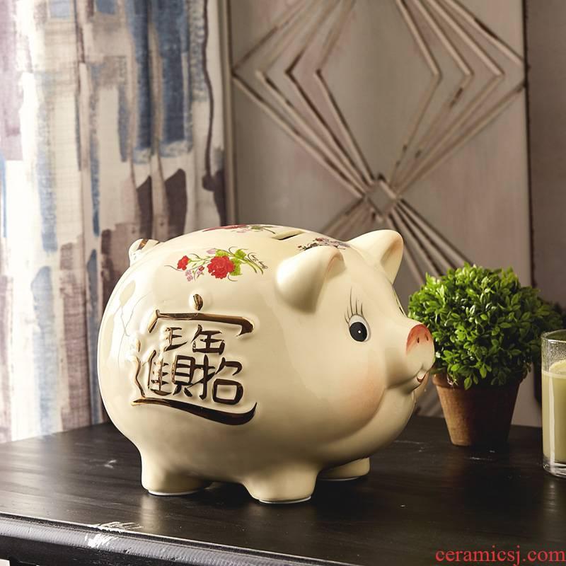 Jingdezhen ceramics pig piggy bank piggy bank home wine ark, adornment handicraft ceramic furnishing articles in the living room