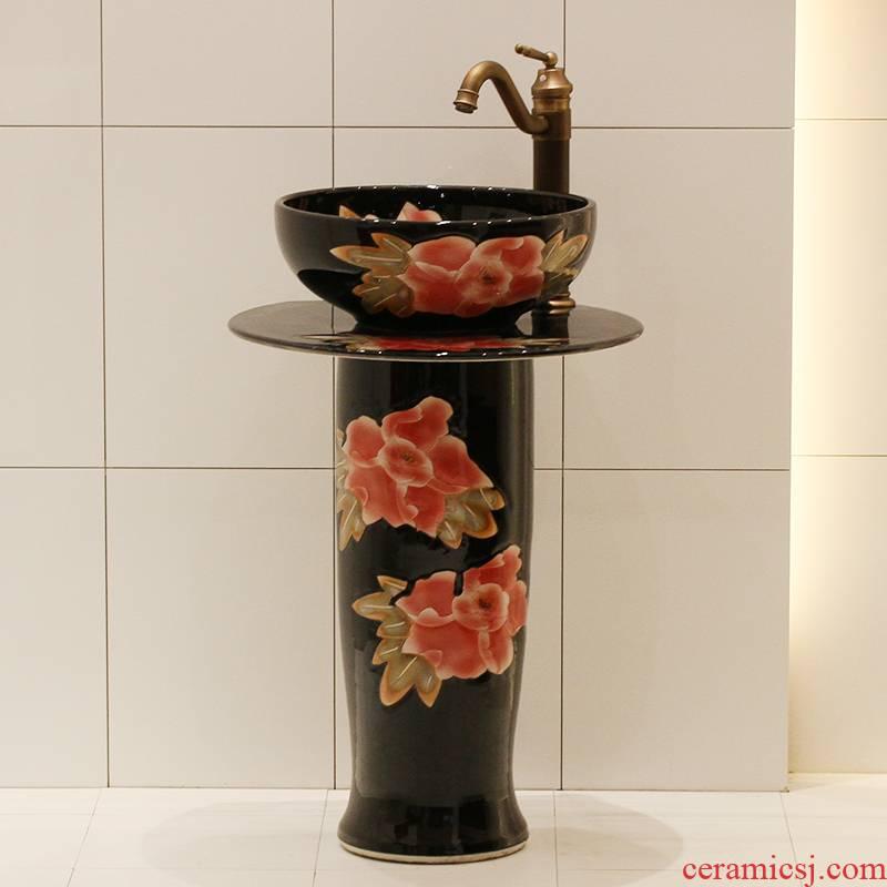 Jingdezhen ceramic art basin bathroom sinks the post sink balcony sink one - piece stage basin
