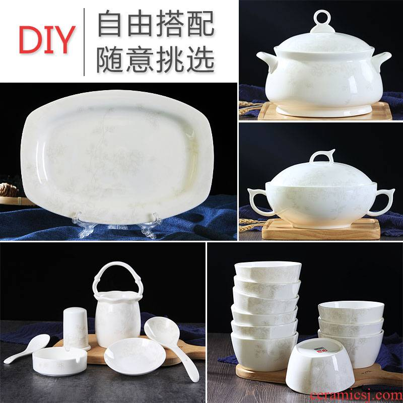 Jingdezhen home dishes suit Chinese express to use ipads porcelain tableware individual contracted combination noodles in soup dishes