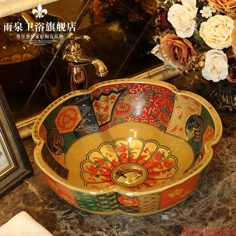 European archaize ceramic toilet stage basin art restoring ancient ways round basin balcony lavatory sink