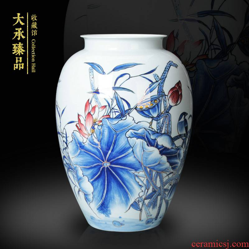 Jingdezhen ceramics vase modern rural style household adornment is placed the see colour blue and white porcelain lotus the qing dynasty vase