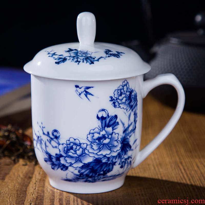 DE farce auspicious jingdezhen ceramic cups with cover ipads porcelain cup of water glass office meeting