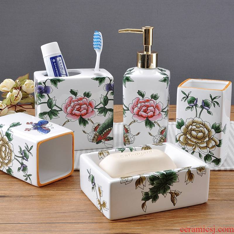 Chinese style ice crack high temperature ceramic bathroom five times I bathroom toiletries mouthwash toothbrush gargle suit
