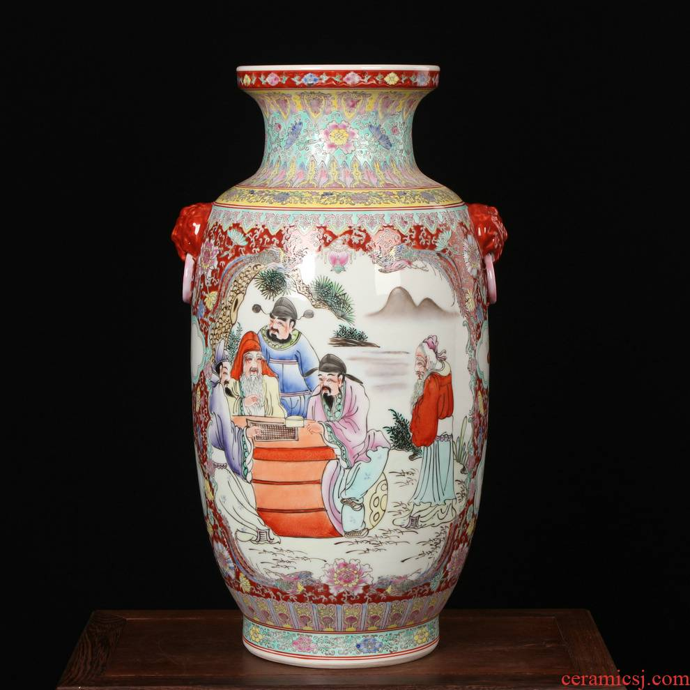 Antique Ming and the qing classical jingdezhen ceramics craft factory goods hand - made pastel head xiangshan nine boss vase
