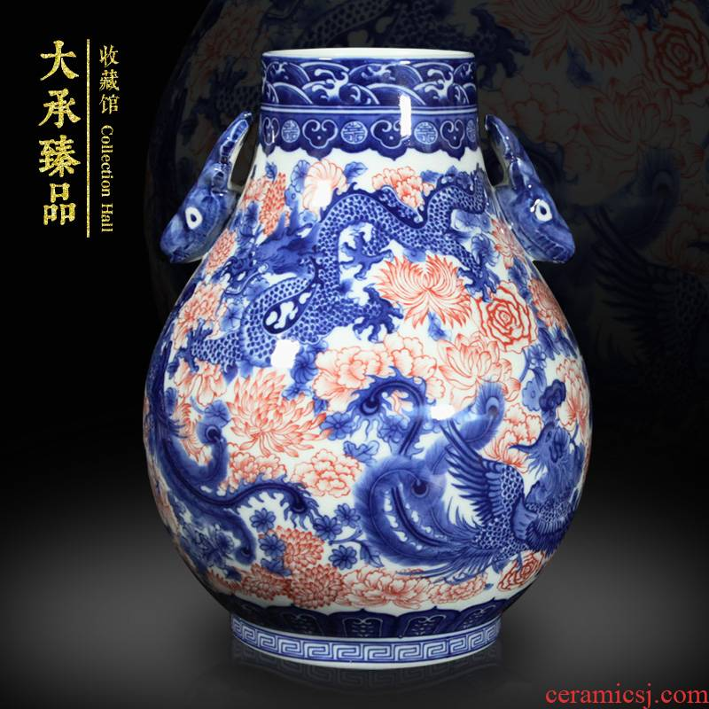 Jingdezhen ceramics antique blue - and - white youligong flower is in extremely good fortune deer head vase bookshelf sitting room furnishing articles