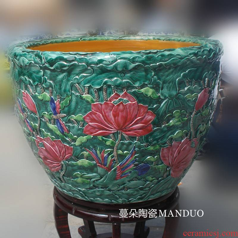 Jingdezhen deep anaglyph antique porcelain porcelain lotus color cylinder cylinder 500 pieces of archaize high - grade cylinder