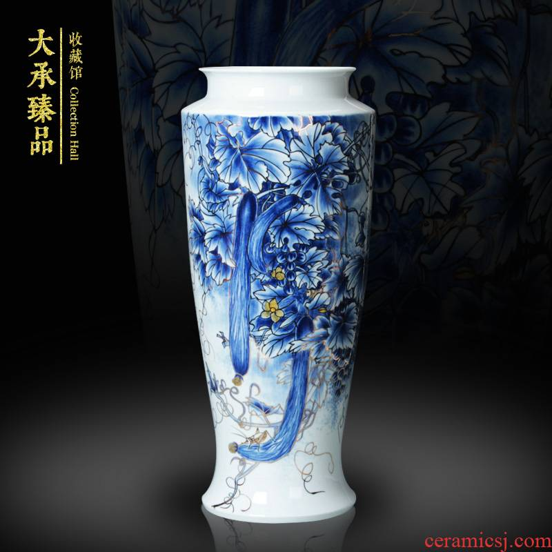 The see colour blue and white porcelain of jingdezhen ceramics vase longevity figure vase old man birthday gift furnishing articles of handicraft