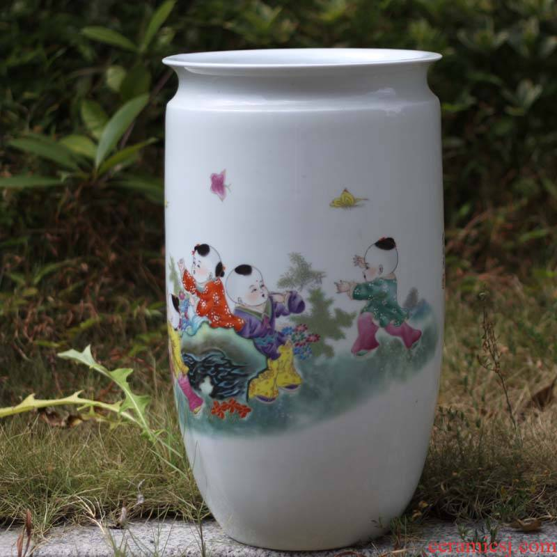 Blue and white tong qu 40 high decorative lively jingdezhen Blue and white porcelain vase lad tong qu tube elegant calligraphy and painting