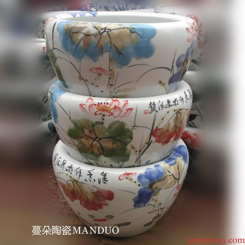 Jingdezhen hand - made porcelain up lotus flower art porcelain crock prevent bask in frost porcelain cylinder