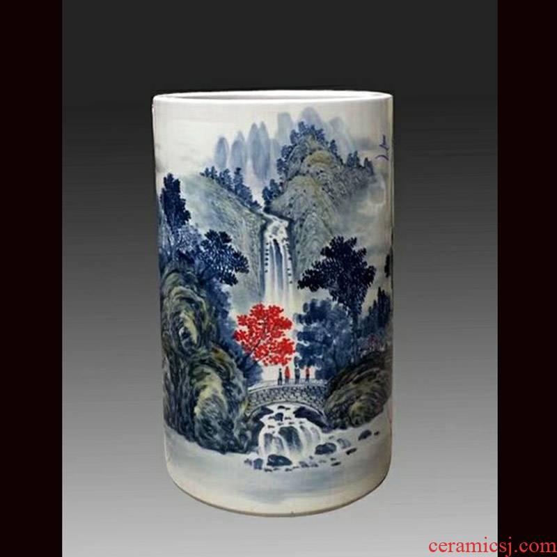 Jingdezhen 48 cm high hand - made ceramic quiver sitting room corridor landscape decoration porcelain storage tank