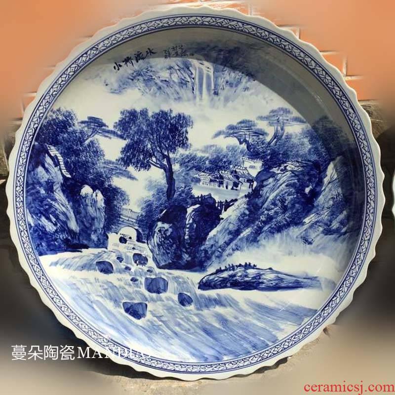 Jingdezhen hand - made dishes big blue - and - white porcelain art porcelain hotel hotel 1 meter big porcelain plate