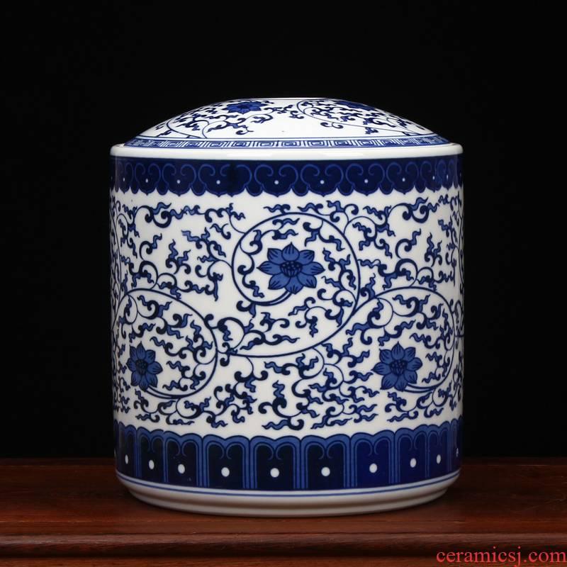 Furnishing articles large blue and white porcelain is jingdezhen ceramics tea pu 'er tea box box store receives tea cake tin