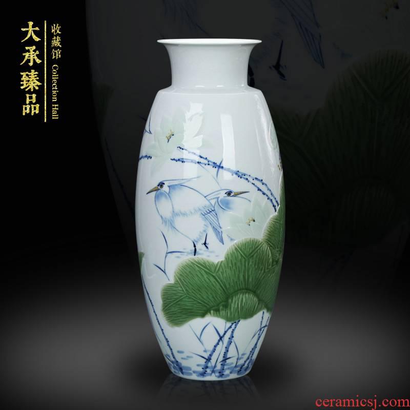 LuYiGang jingdezhen ceramics hand - made porcelain carving shadow blue glaze lotus heron vase handicraft furnishing articles