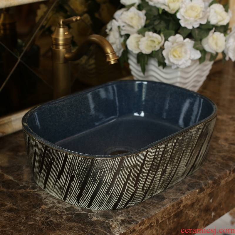 Jingdezhen ceramic wash basin stage basin elliptic toilet lavabo art restores ancient ways the balcony to wash face basin