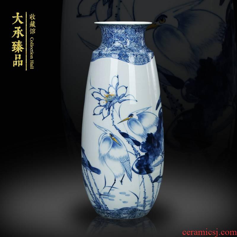 Egrets LuYiGang hand - made porcelain of jingdezhen ceramics engraving lotus vase collection crafts are set