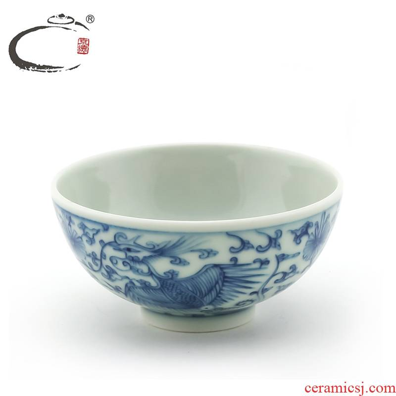 And auspicious blue - And - white uncluttered double phoenix cup of jingdezhen ceramic hand - made kung fu tea set sample tea cup bowl tea cup