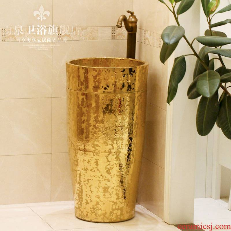 Jingdezhen ceramic art basin pillar basin sink basin floor type lavatory basin integrated device of the column