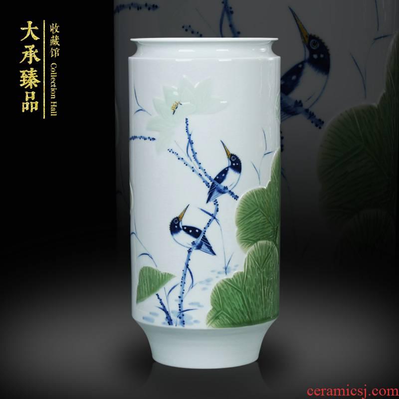 LuYiGang hand - made porcelain of jingdezhen ceramics engraving lotus flower vase collection crafts are set