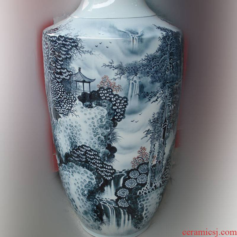 Jingdezhen hand - made color ink landscape high porcelain vase, 100-110 home decorative furnishings appreciate the vase
