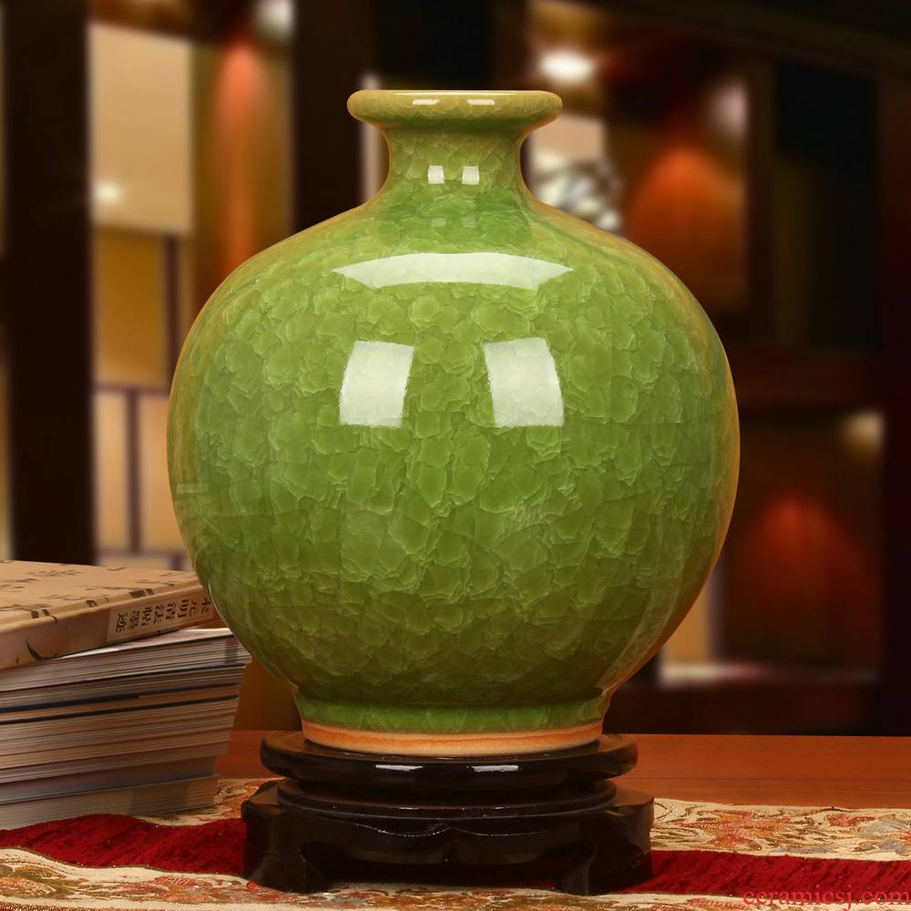 Archaize of jingdezhen ceramics up crack open the slice glaze green ball vase decoration modern Chinese style household furnishing articles