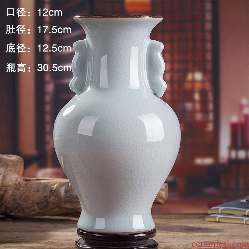 Jingdezhen ceramics vase household ice crack wine study office decoration sitting room furnishing articles