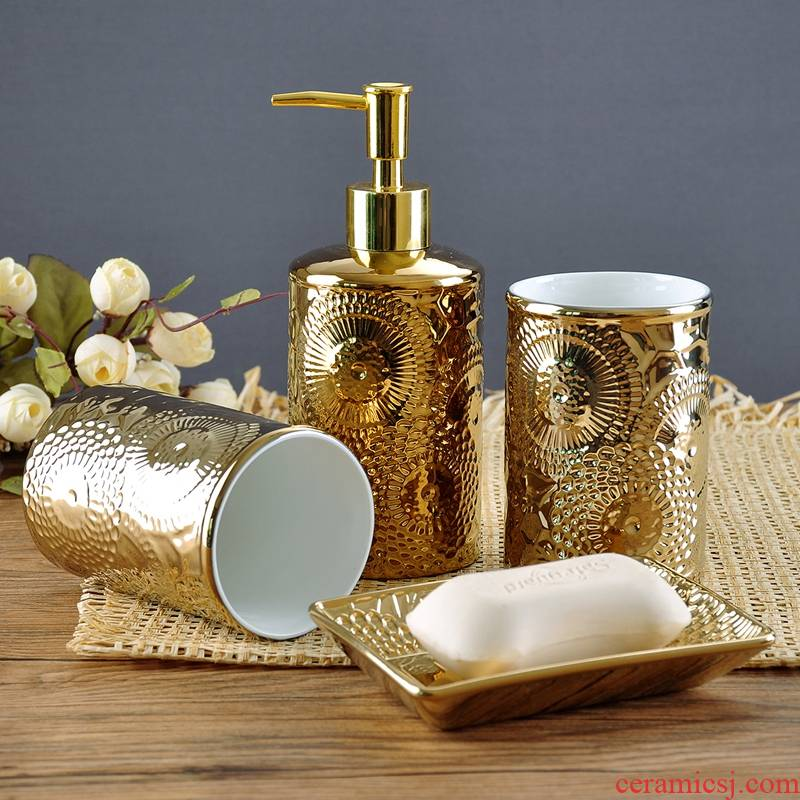 The Spot contracted and I creative electroplating gold ceramic sanitary ware household bathroom suite bathroom suite ornament