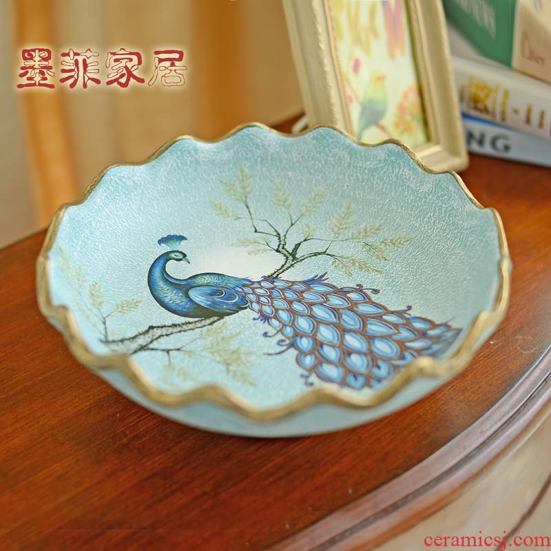 American light key-2 luxury ceramic dry fruit bowl Europe type restoring ancient ways compote luxurious sitting room adornment is placed big bowl tea table