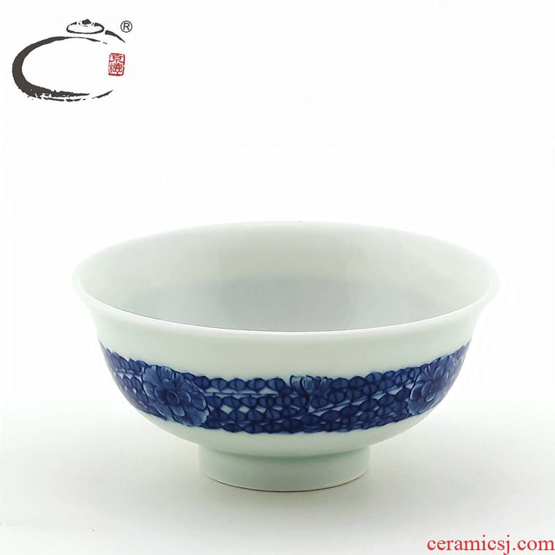 And auspicious jing DE collection hand - made jingdezhen blue And white fine leaf heavy industry sample tea cup hand embryo to use kung fu tea cups