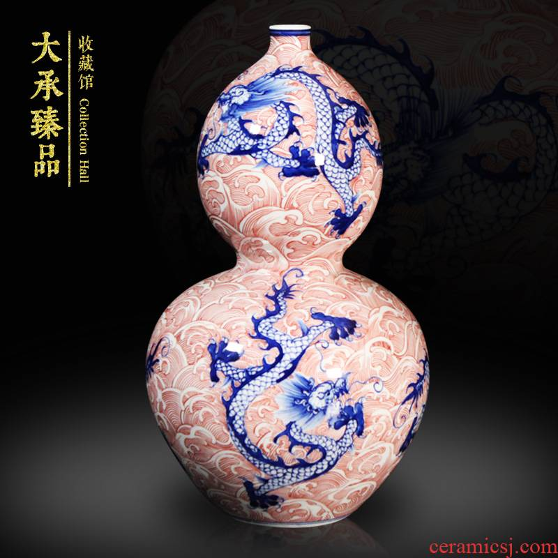 JingDeDe ceramics town of antique Chinese blue and white youligong tenglong gourd vase study crafts are sitting room
