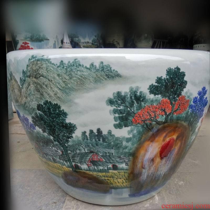 Jingdezhen blue and white porcelain hand - made porcelain VAT key-2 luxury furnishings big study fine ceramic cylinder cylinder