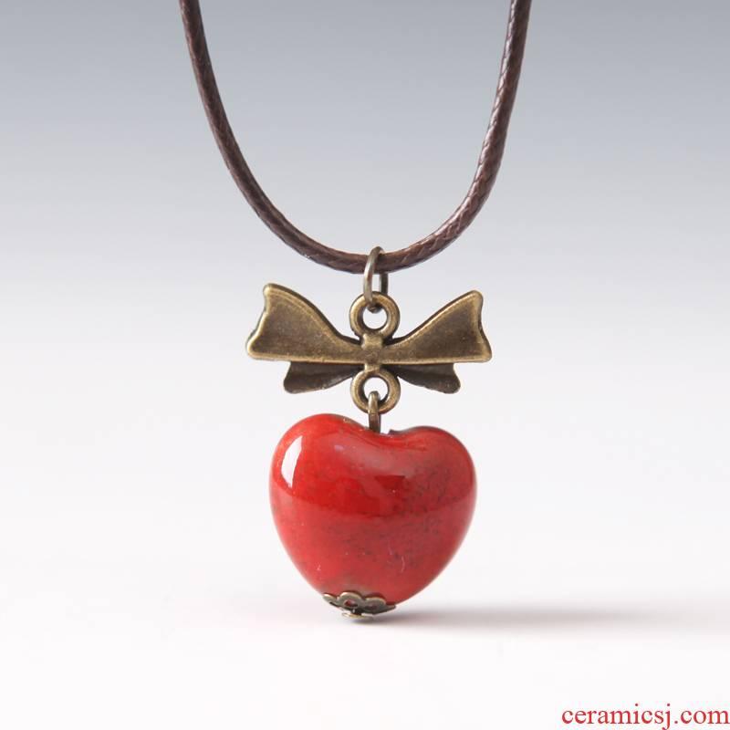 The Original Bohemian heart - shaped pendant QingGe jingdezhen glaze color necklace female stalls short supply