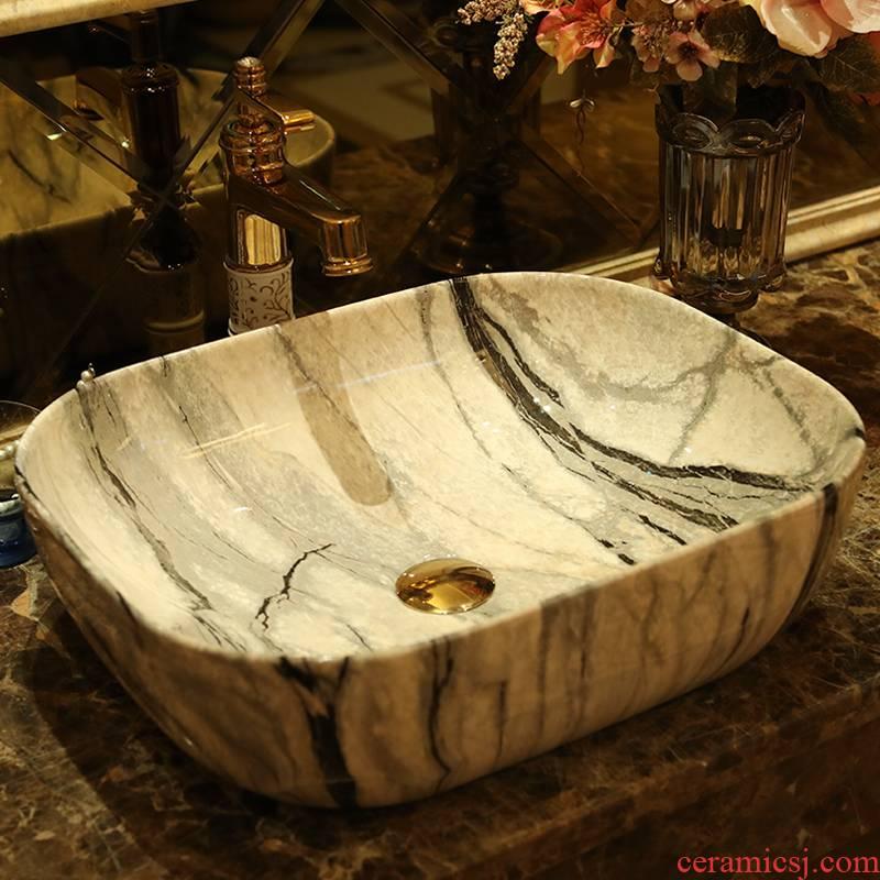 Spring rain on the ceramic basin to the balcony household square art lavabo European gray marble sinks