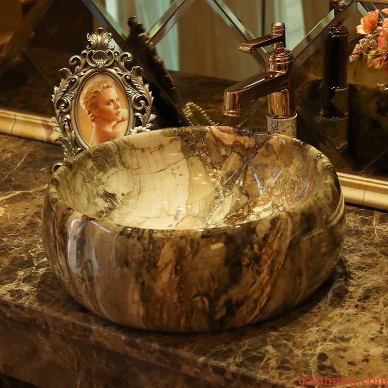 Jingdezhen ceramic stage basin to the art of circular marble basin is the basin that wash a toilet waist drum sink